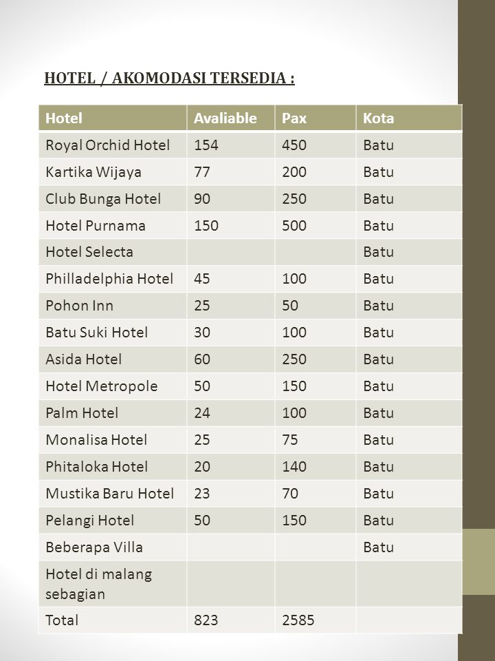 HOTEL / AKOMODASI TERSEDIA :