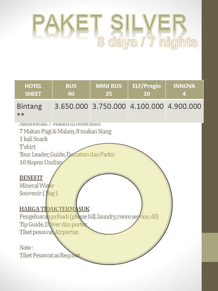 Paket silver 8 days / 7 nights Bintang ** 3.650.000 3.750.000