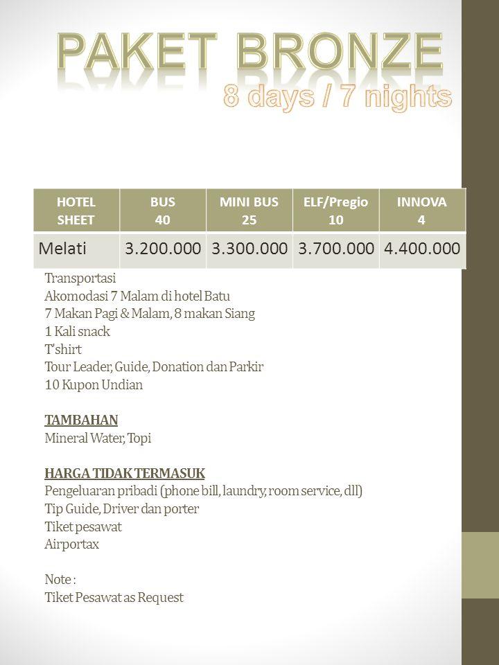 Paket bronze 8 days / 7 nights Melati 3.200.000 3.300.000 3.700.000