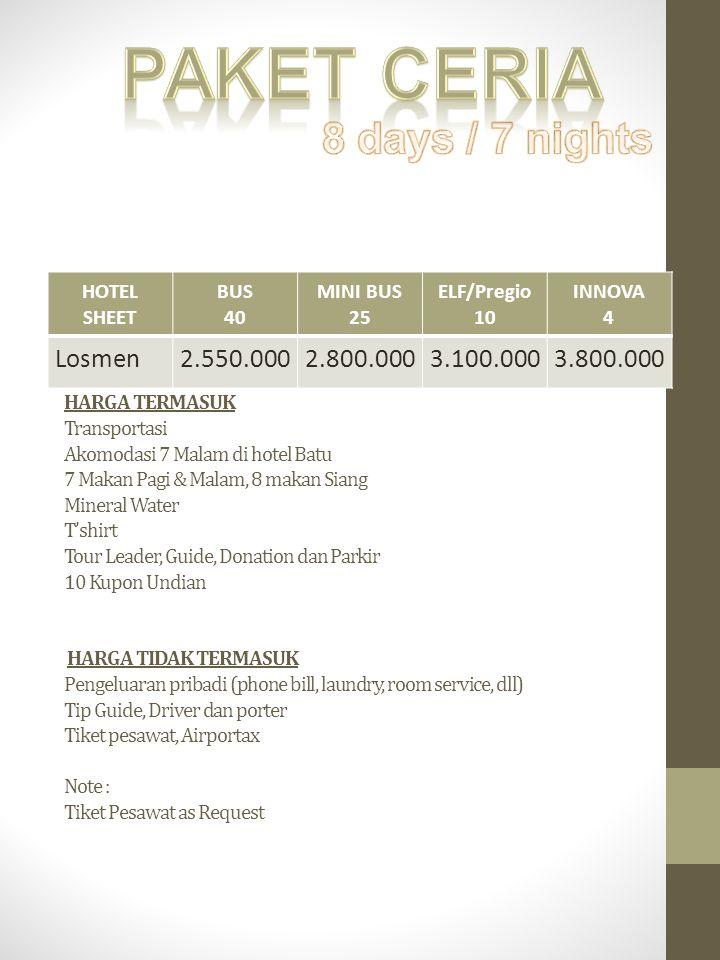 Paket Ceria 8 days / 7 nights Losmen 2.550.000 2.800.000 3.100.000