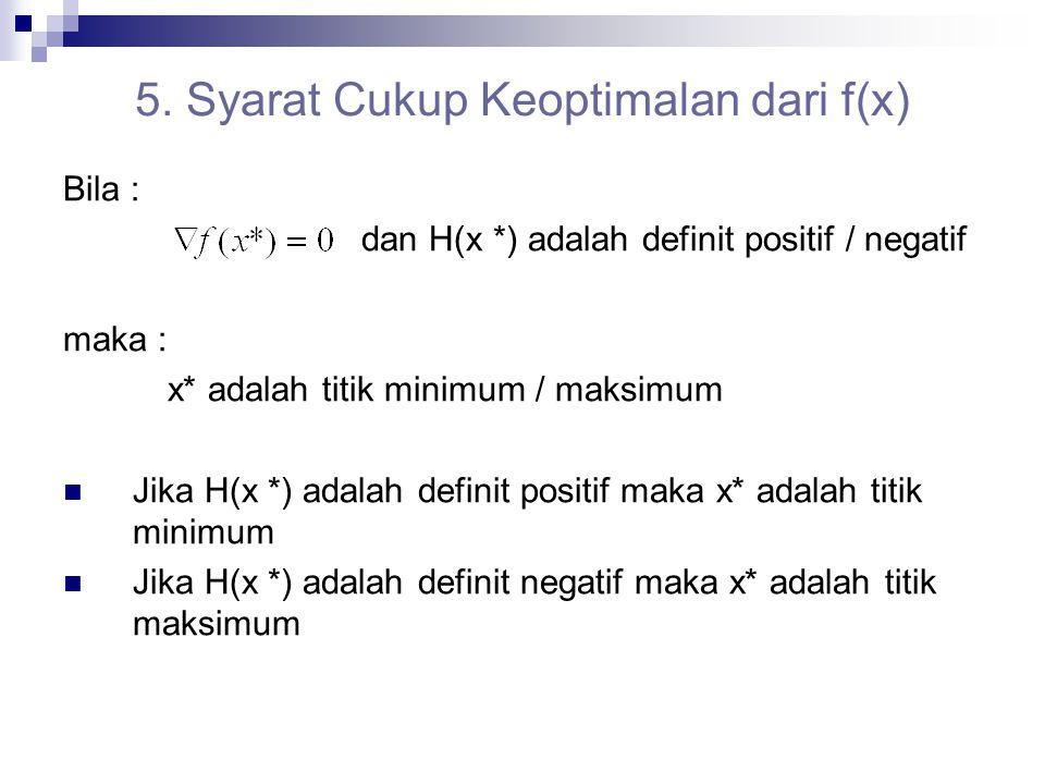 5. Syarat Cukup Keoptimalan dari f(x)
