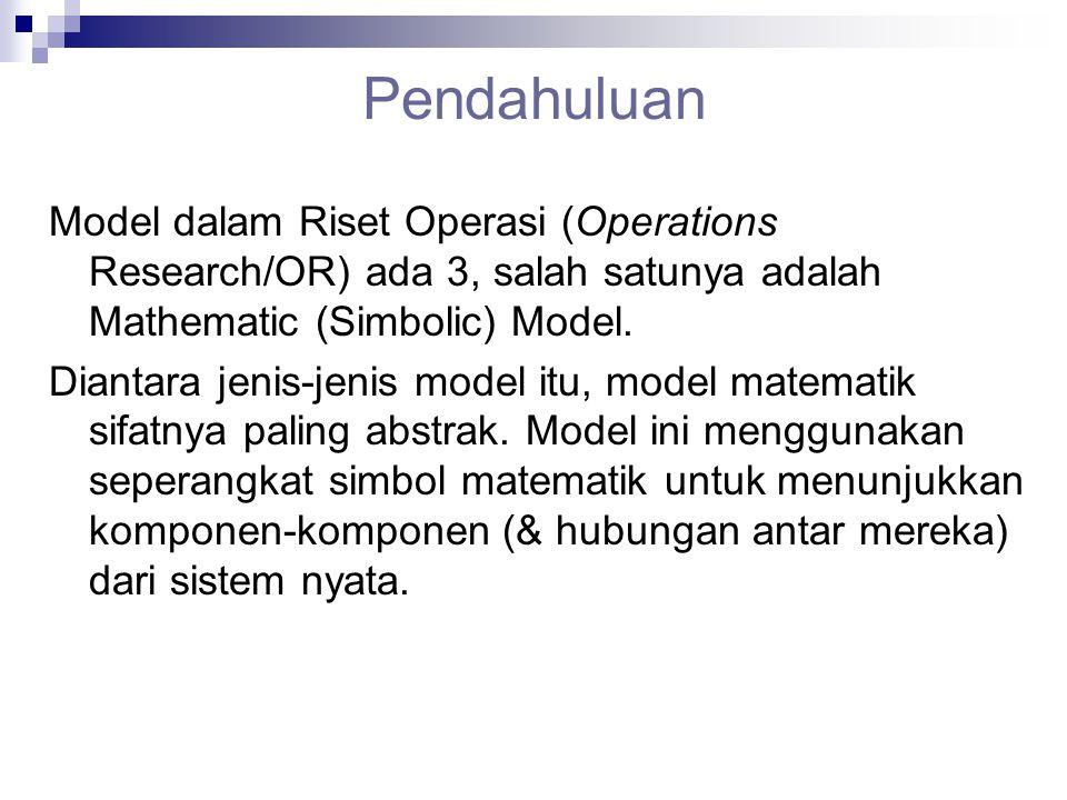 Pendahuluan Model dalam Riset Operasi (Operations Research/OR) ada 3, salah satunya adalah Mathematic (Simbolic) Model.