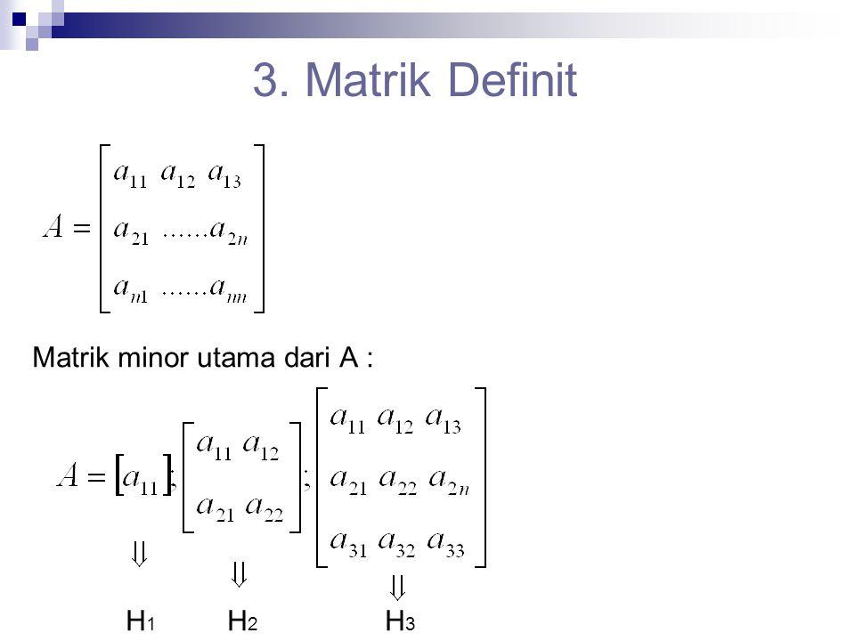 3. Matrik Definit Matrik minor utama dari A : H1 H2 H3
