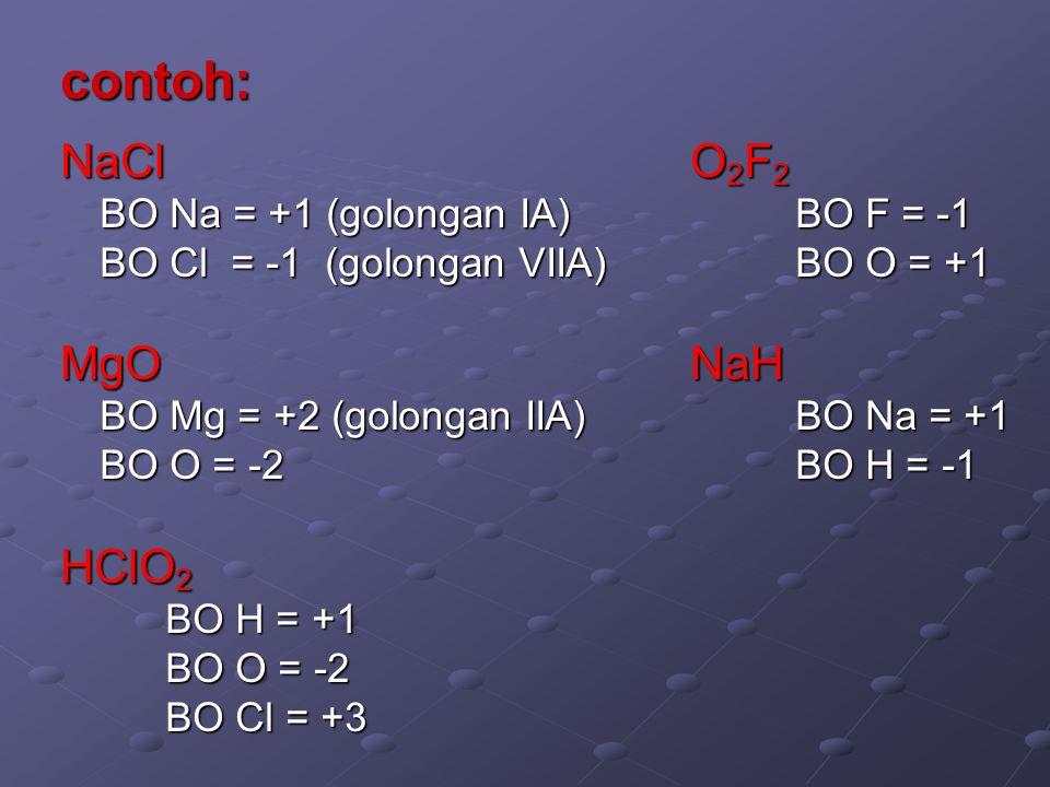 contoh: NaCl O2F2 MgO NaH HClO2 BO Na = +1 (golongan IA) BO F = -1