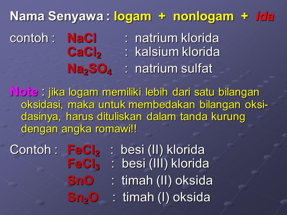 Nama Senyawa : logam + nonlogam + ida