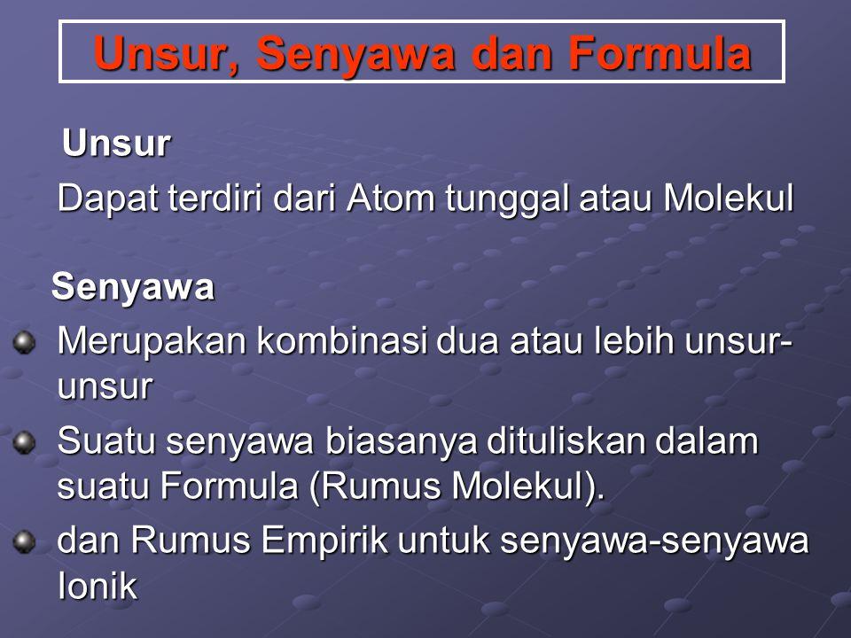 Unsur, Senyawa dan Formula