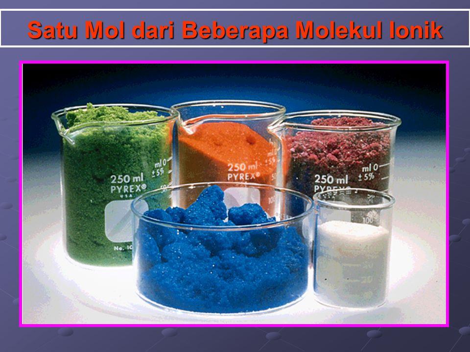Satu Mol dari Beberapa Molekul Ionik