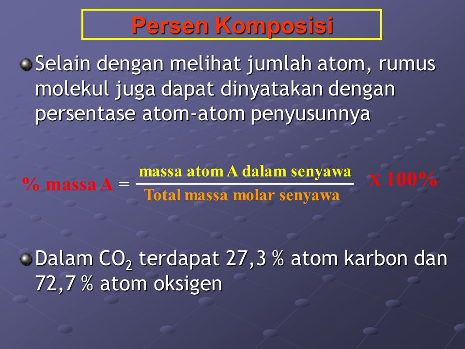 massa atom A dalam senyawa Total massa molar senyawa