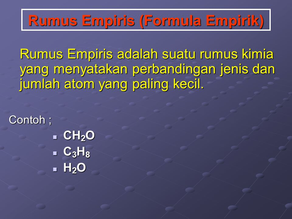 Rumus Empiris (Formula Empirik)