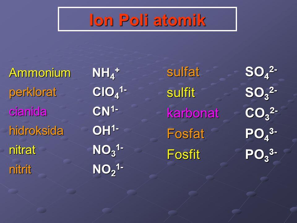 Ion Poli atomik sulfat SO42- sulfit SO32- karbonat CO32- Fosfat PO43-