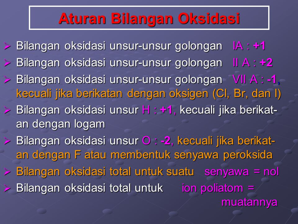Aturan Bilangan Oksidasi