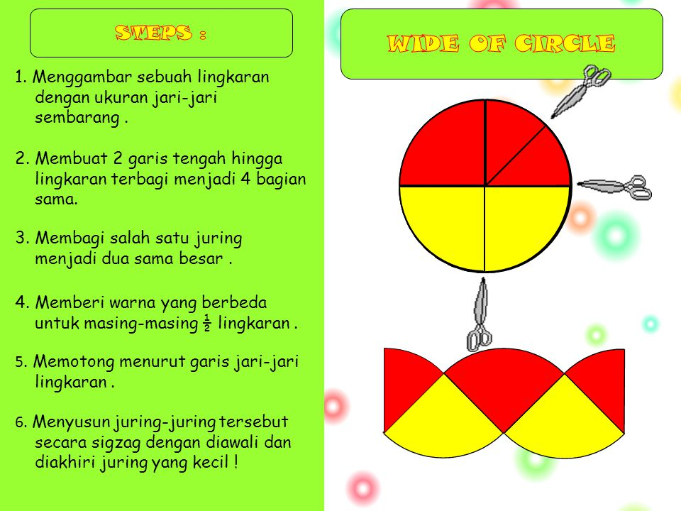 STEPS : WIDE OF CIRCLE. 1. Menggambar sebuah lingkaran dengan ukuran jari-jari sembarang .