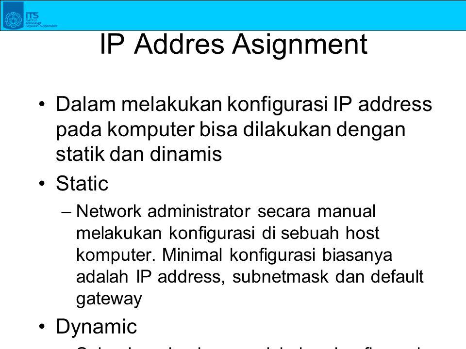 IP Addres Asignment Dalam melakukan konfigurasi IP address pada komputer bisa dilakukan dengan statik dan dinamis.
