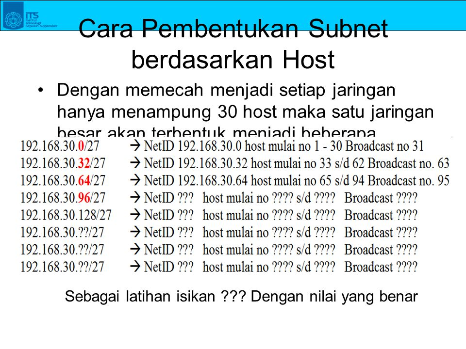 Cara Pembentukan Subnet berdasarkan Host