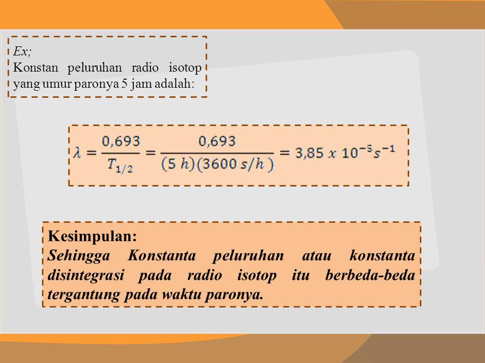 Ex; Konstan peluruhan radio isotop yang umur paronya 5 jam adalah: Kesimpulan: