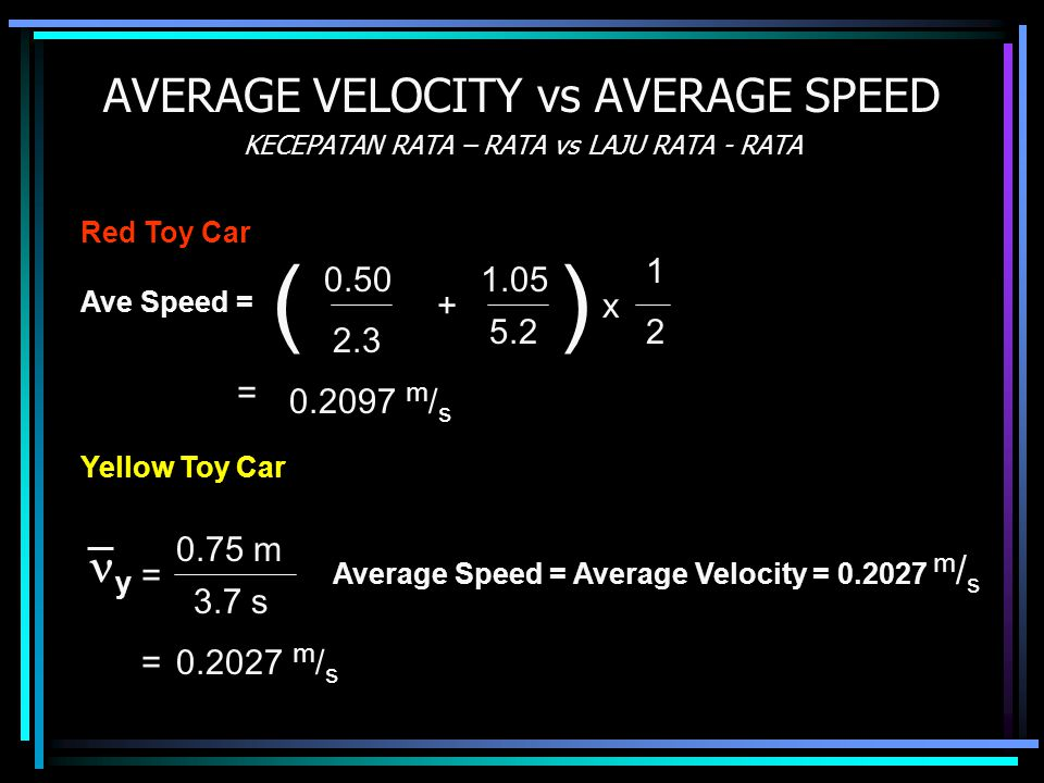 ( ) AVERAGE VELOCITY vs AVERAGE SPEED y 1 0.50 1.05 + x 5.2 2 2.3 =
