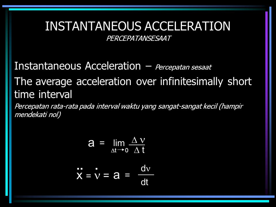 INSTANTANEOUS ACCELERATION PERCEPATANSESAAT