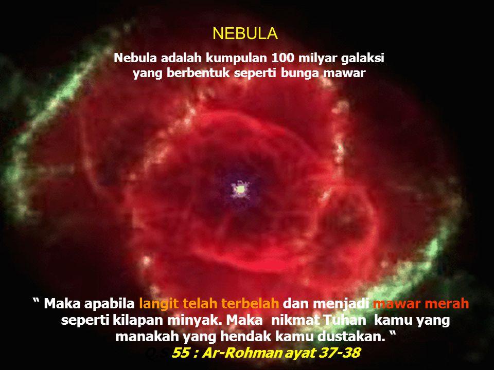 NEBULA Nebula adalah kumpulan 100 milyar galaksi yang berbentuk seperti bunga mawar.