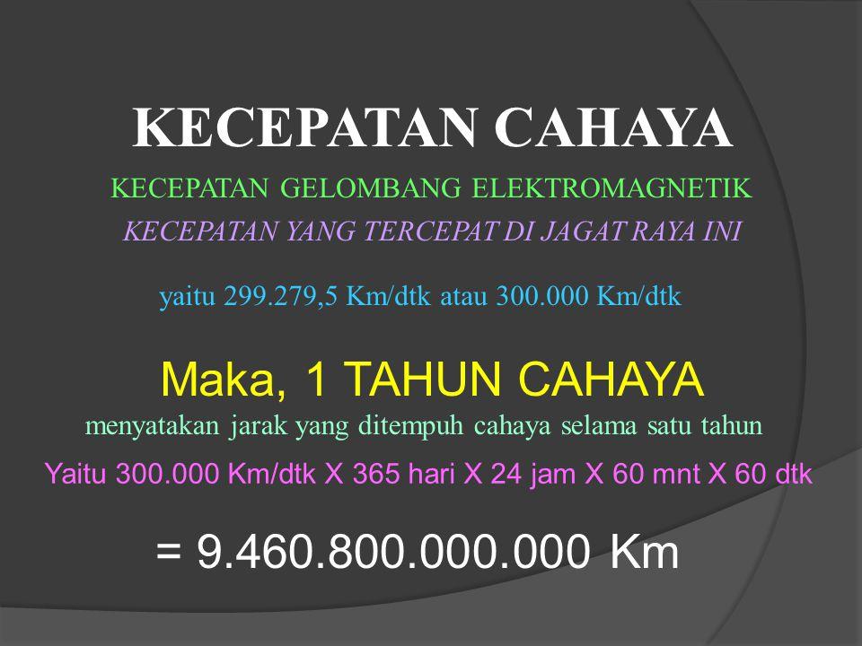 KECEPATAN CAHAYA Maka, 1 TAHUN CAHAYA = 9.460.800.000.000 Km