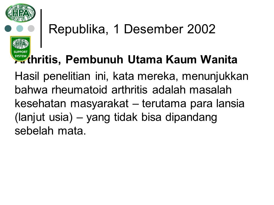 Republika, 1 Desember 2002 Arthritis, Pembunuh Utama Kaum Wanita