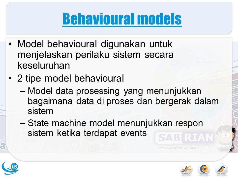 Behavioural models Model behavioural digunakan untuk menjelaskan perilaku sistem secara keseluruhan.