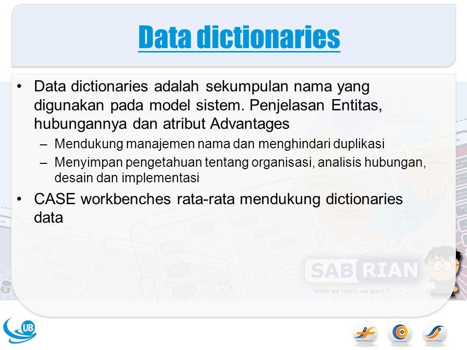 Data dictionaries Data dictionaries adalah sekumpulan nama yang digunakan pada model sistem. Penjelasan Entitas, hubungannya dan atribut Advantages.