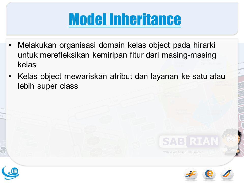 Model Inheritance Melakukan organisasi domain kelas object pada hirarki untuk merefleksikan kemiripan fitur dari masing-masing kelas.