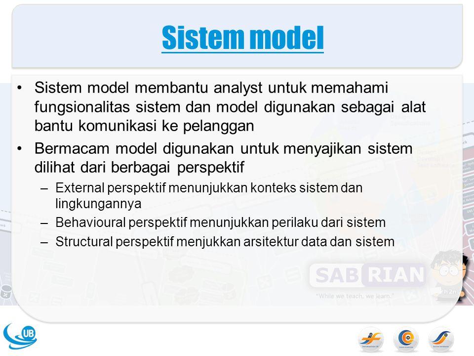 Sistem model Sistem model membantu analyst untuk memahami fungsionalitas sistem dan model digunakan sebagai alat bantu komunikasi ke pelanggan.