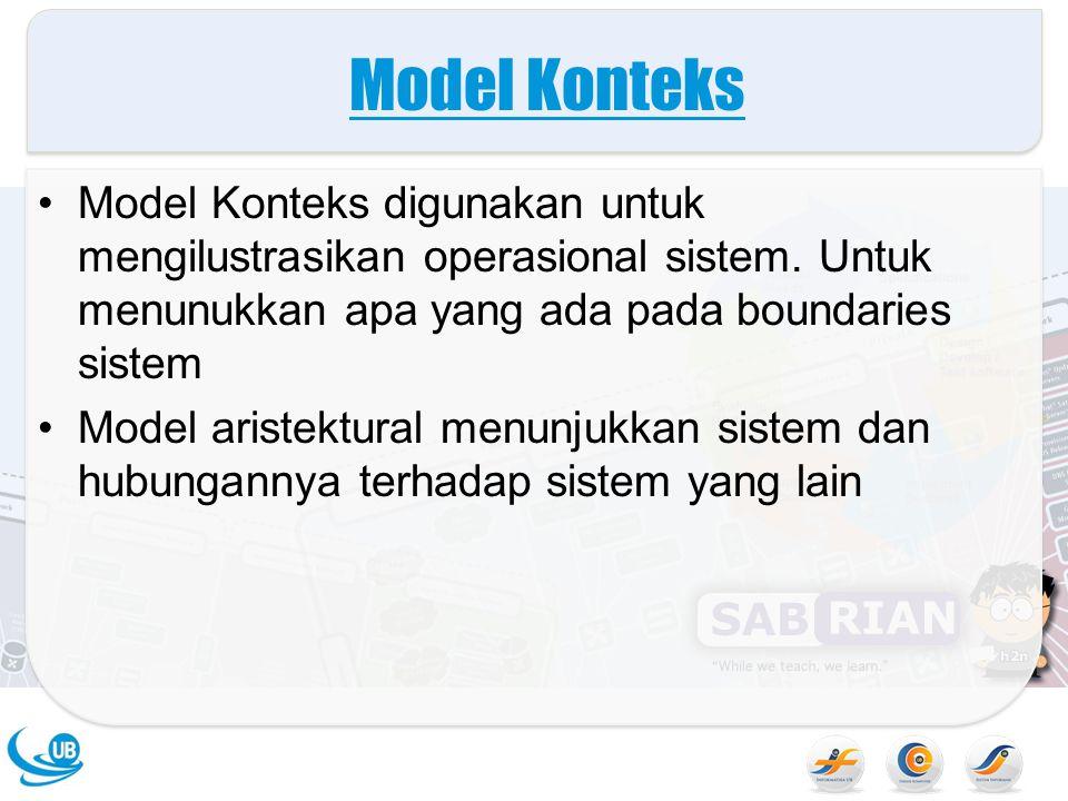 Model Konteks Model Konteks digunakan untuk mengilustrasikan operasional sistem. Untuk menunukkan apa yang ada pada boundaries sistem.