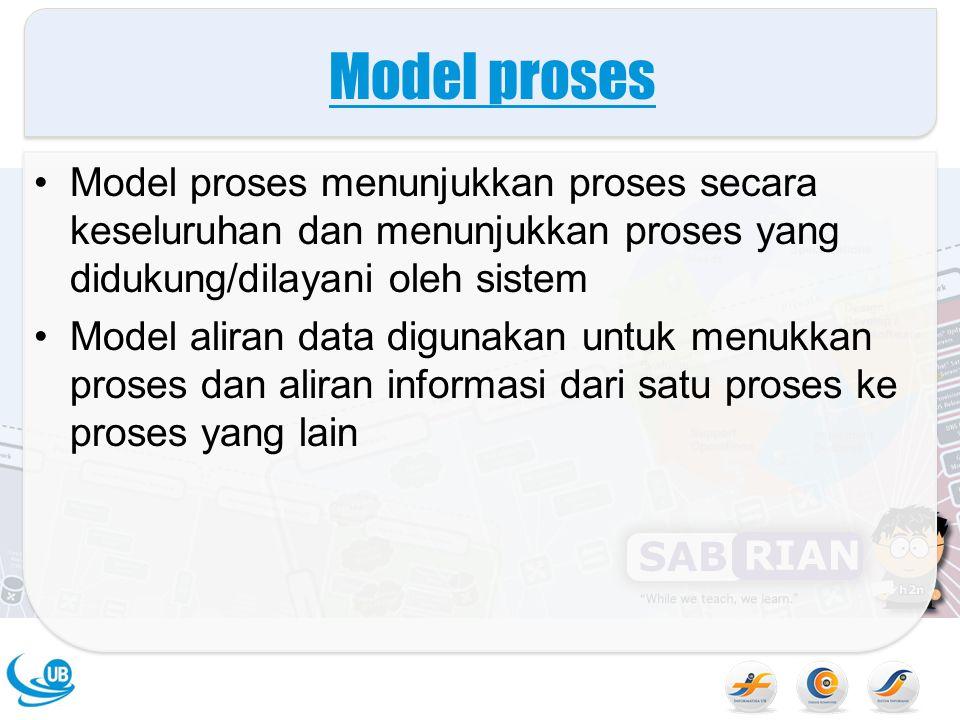 Model proses Model proses menunjukkan proses secara keseluruhan dan menunjukkan proses yang didukung/dilayani oleh sistem.