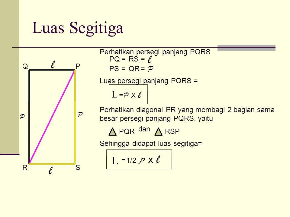 Luas Segitiga l l l l l p L L x P Perhatikan persegi panjang PQRS PQ =