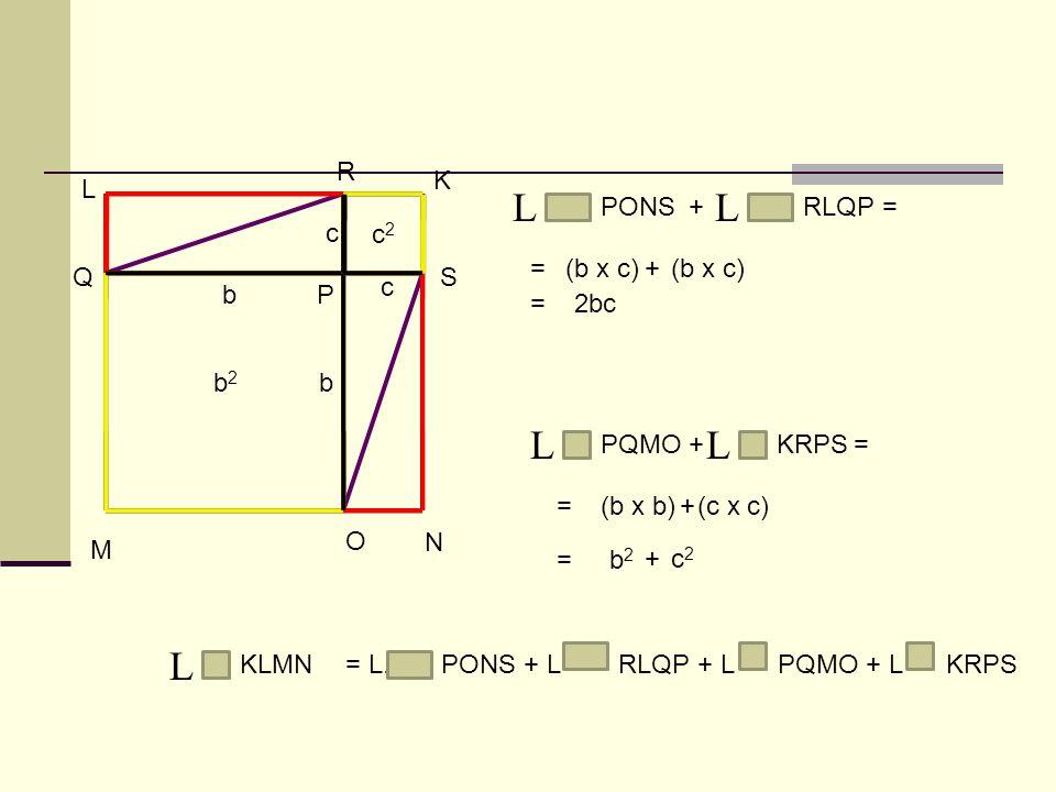 L L L L L R K L PONS + RLQP = c c2 = (b x c) + (b x c) Q S c b P = 2bc