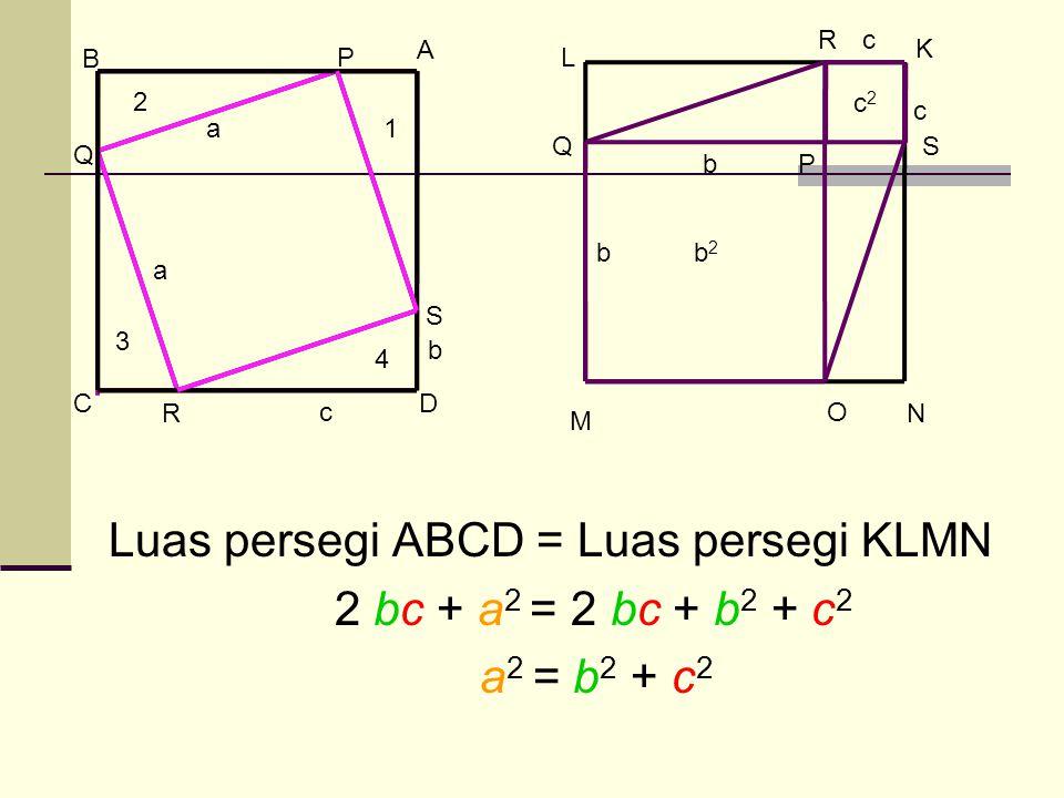 Luas persegi ABCD = Luas persegi KLMN 2 bc + a2 = 2 bc + b2 + c2