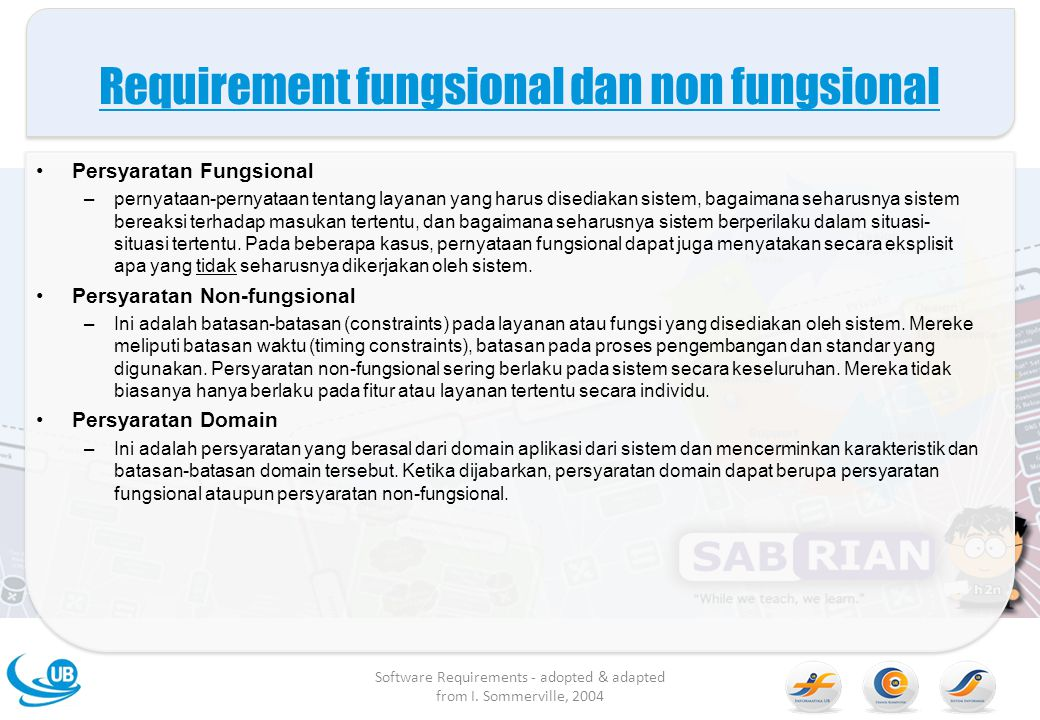 Requirement fungsional dan non fungsional