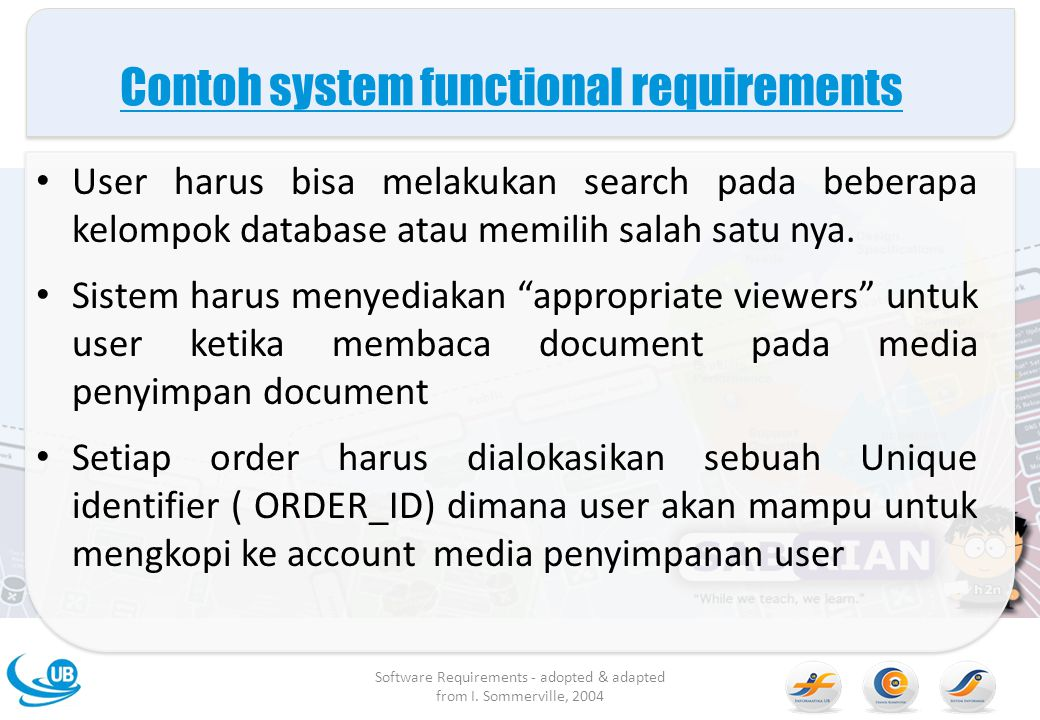 Contoh system functional requirements