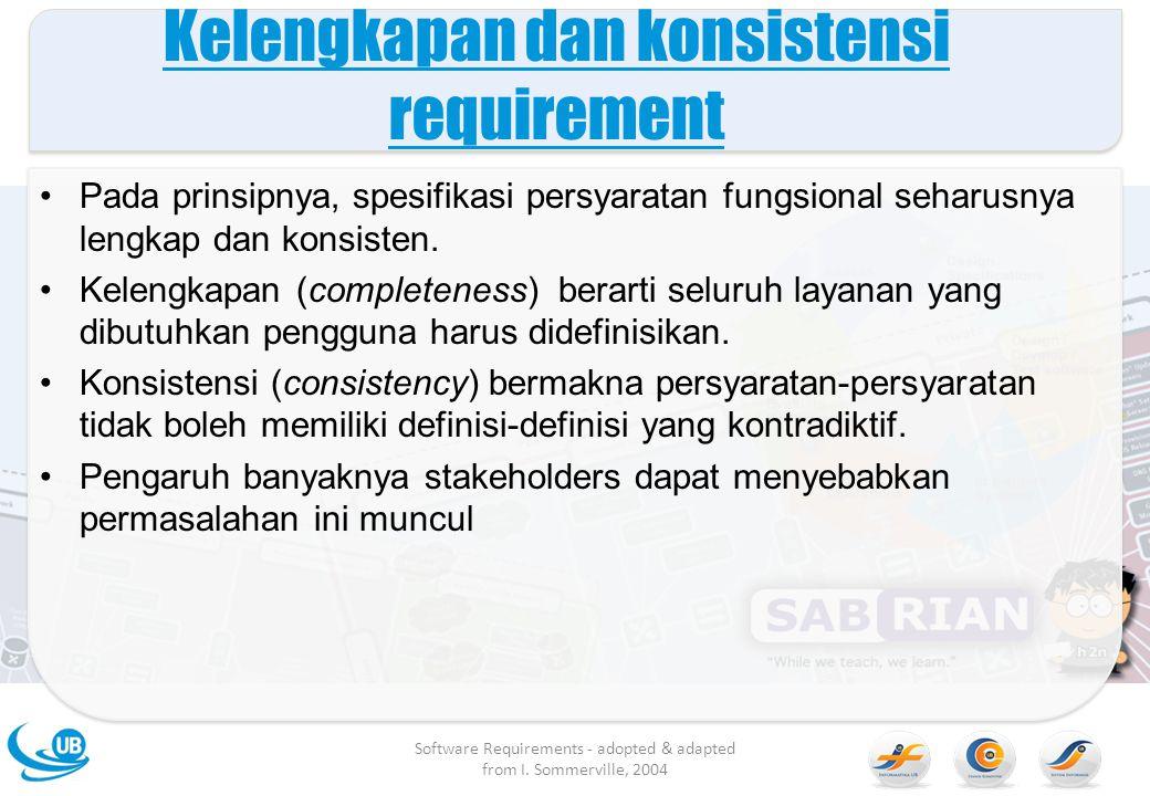 Kelengkapan dan konsistensi requirement