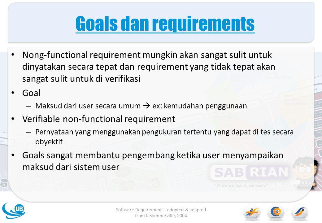 Goals dan requirements