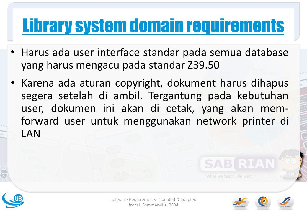Library system domain requirements