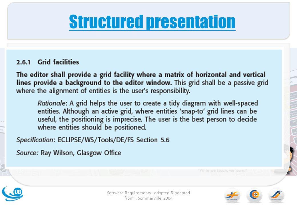 Structured presentation