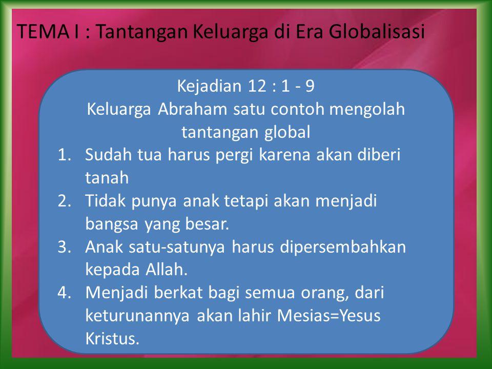 TEMA I : Tantangan Keluarga di Era Globalisasi