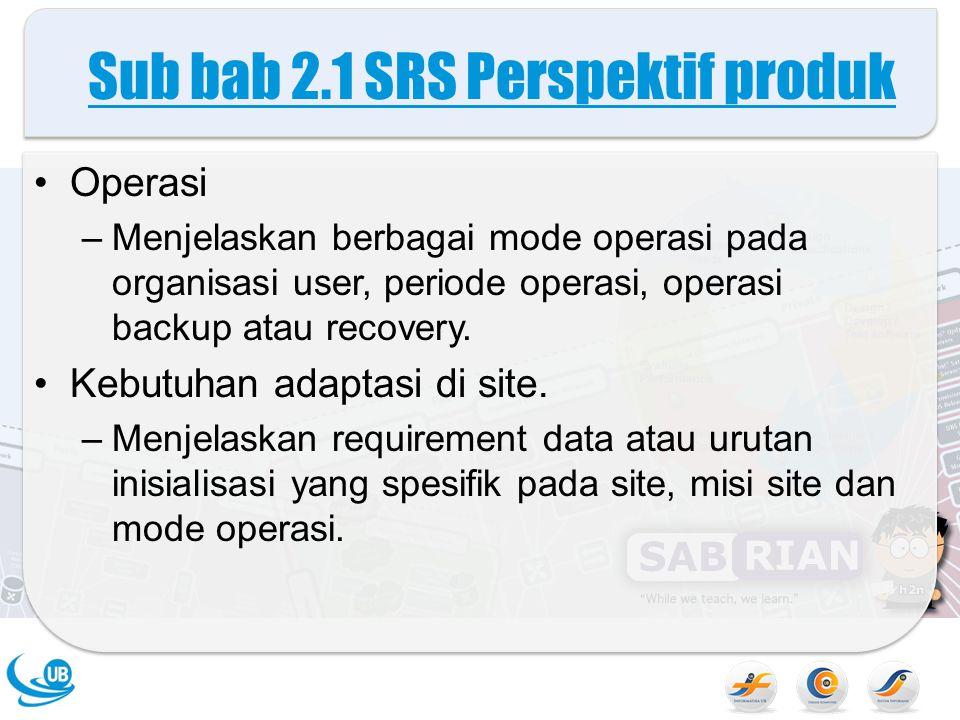 Sub bab 2.1 SRS Perspektif produk