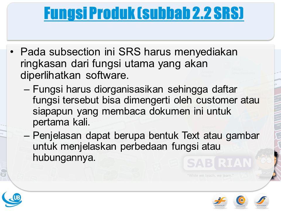 Fungsi Produk (subbab 2.2 SRS)