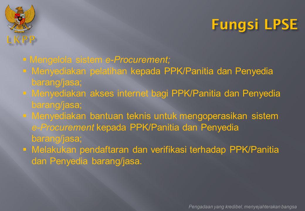 Fungsi LPSE Mengelola sistem e-Procurement;