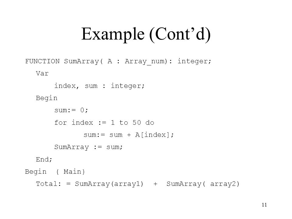 Example (Cont'd) FUNCTION SumArray( A : Array_num): integer; Var