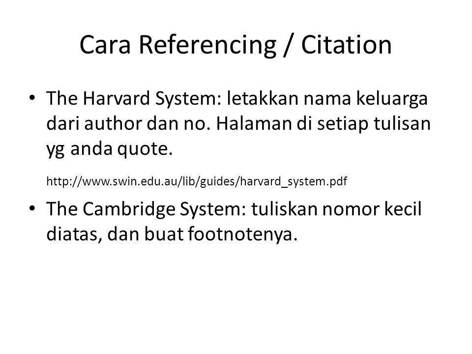 Cara Referencing / Citation