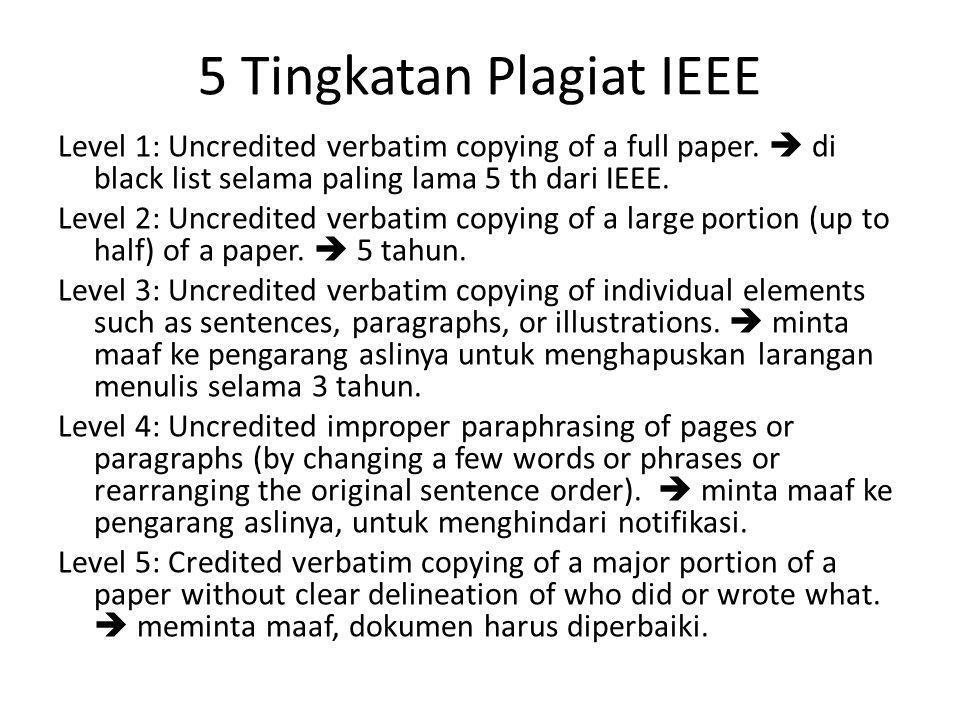 5 Tingkatan Plagiat IEEE