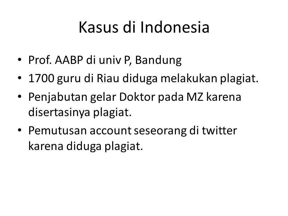 Kasus di Indonesia Prof. AABP di univ P, Bandung