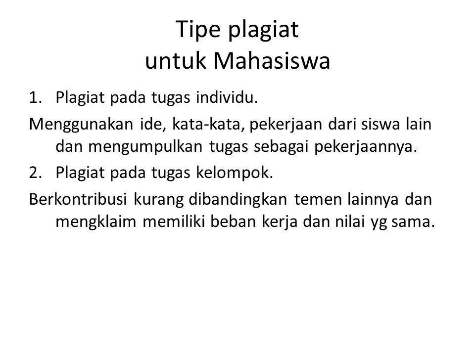 Tipe plagiat untuk Mahasiswa