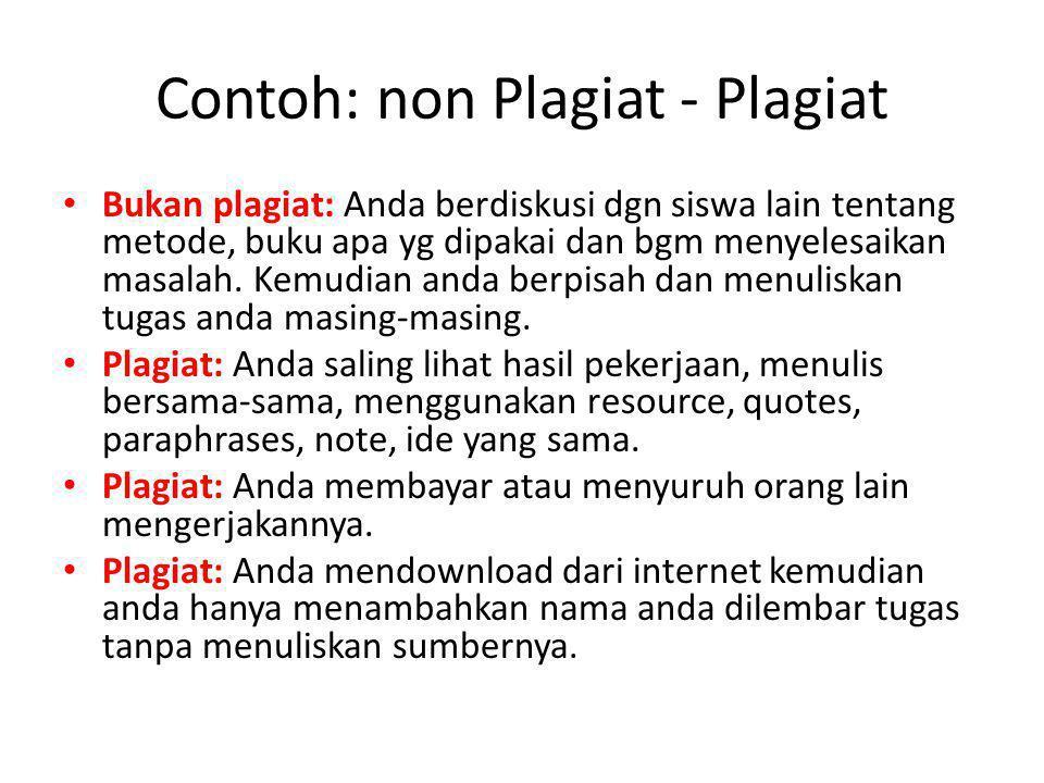 Contoh: non Plagiat - Plagiat
