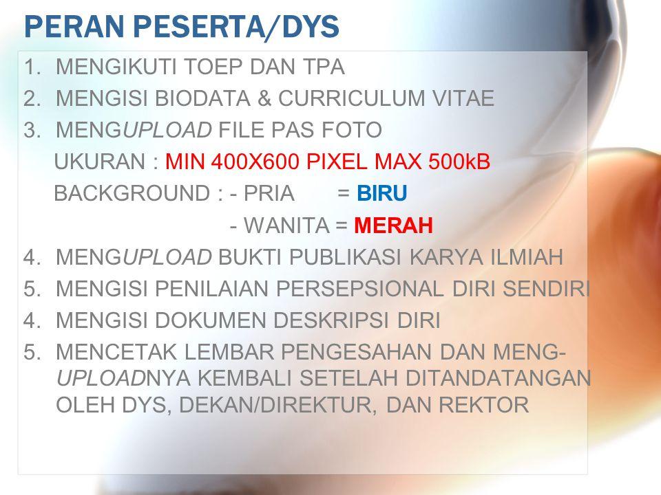 PERAN PESERTA/DYS